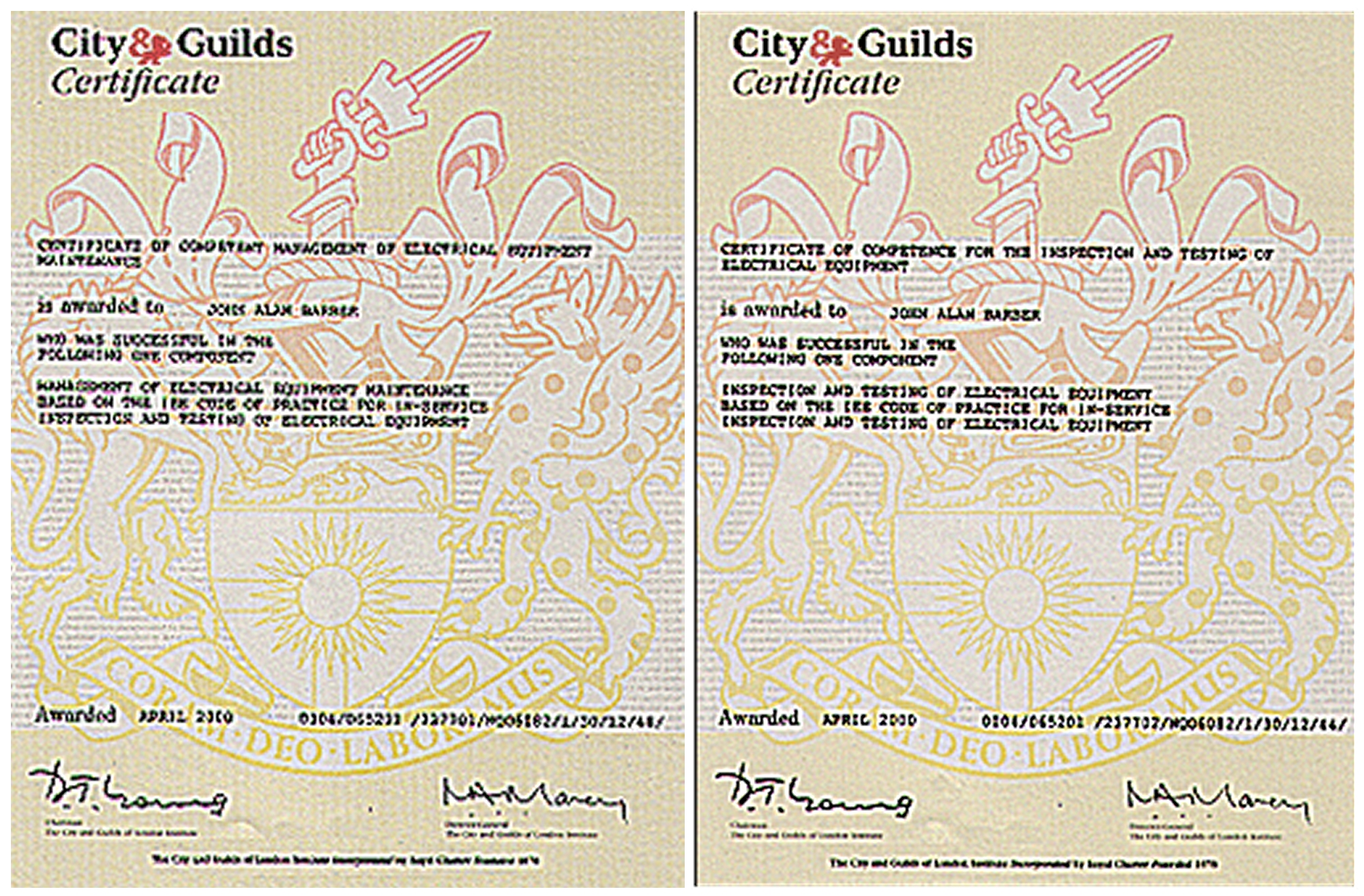 Home guilds 237701 certificate of competent management of electrical equipment and city guilds 237702 certificate of competence for the inspection of yadclub Images